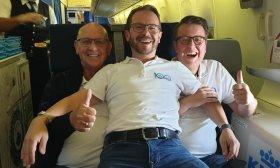 Op weg naar Curaçao met het KLM Orkest met een Boeing 747-400 van KLM.